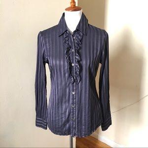 Ted Baker Sheer Stripe Ruffled Blouse Shirt